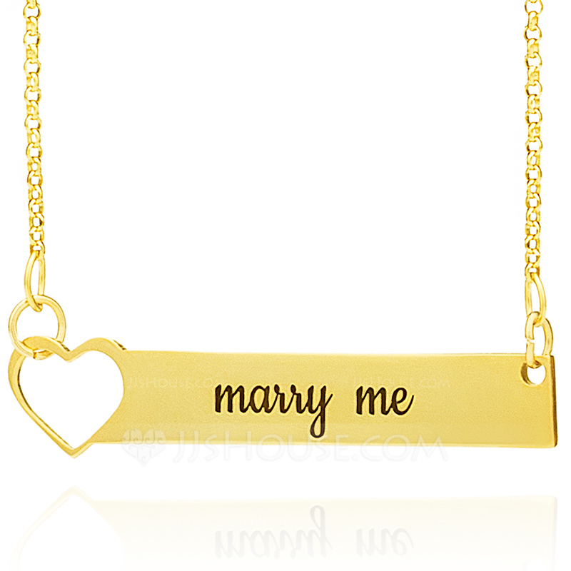 Custom 18k Gold Plated Silver Bar Heart Necklace Engraved Necklace - Birthday Gifts Mother's Day Gifts