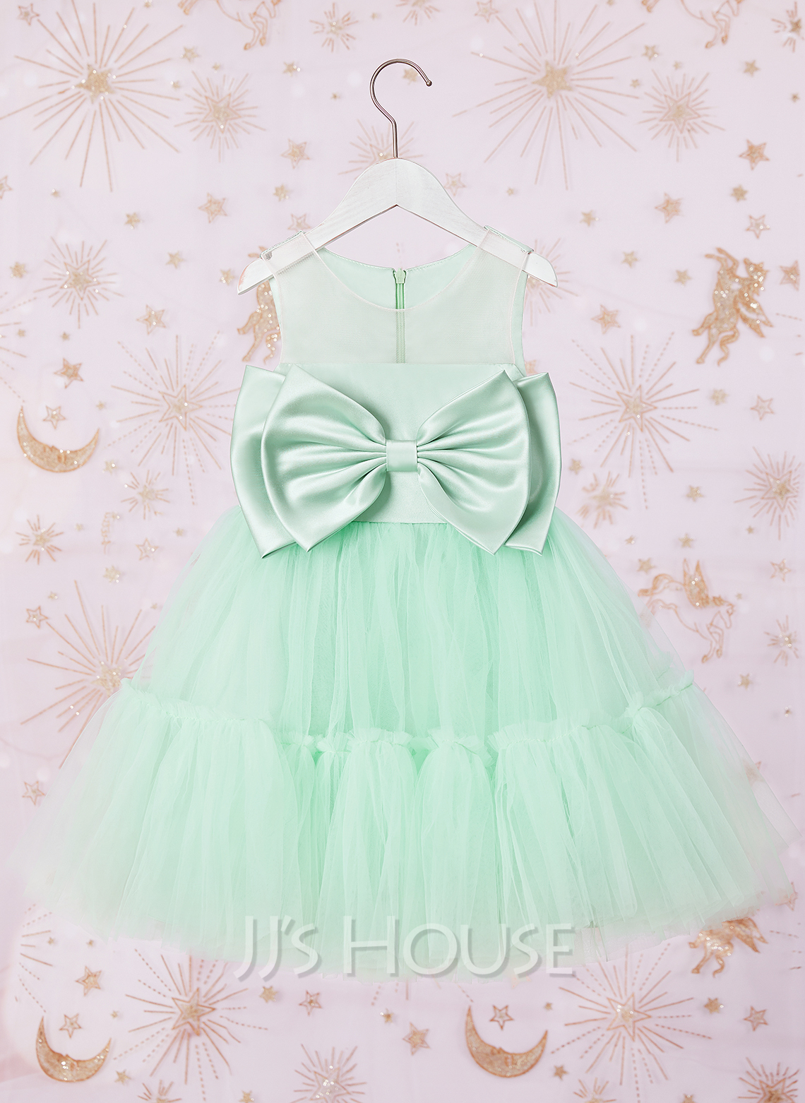 Ball-Gown/Princess Knee-length Flower Girl Dress - Satin/Tulle Sleeveless Scoop Neck With Bow(s)
