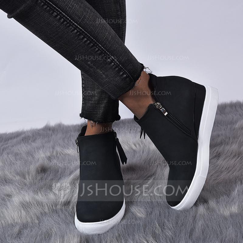 Women's Leatherette Flat Heel Flats With Zipper shoes
