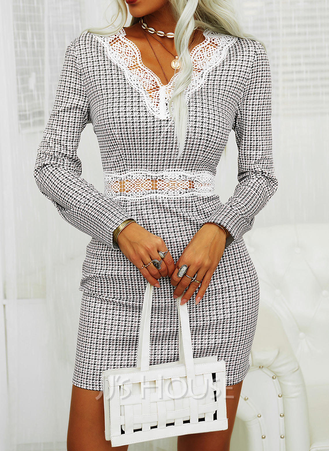 Lace Plaid Bodycon V-Neck Long Sleeves Midi Elegant Dresses