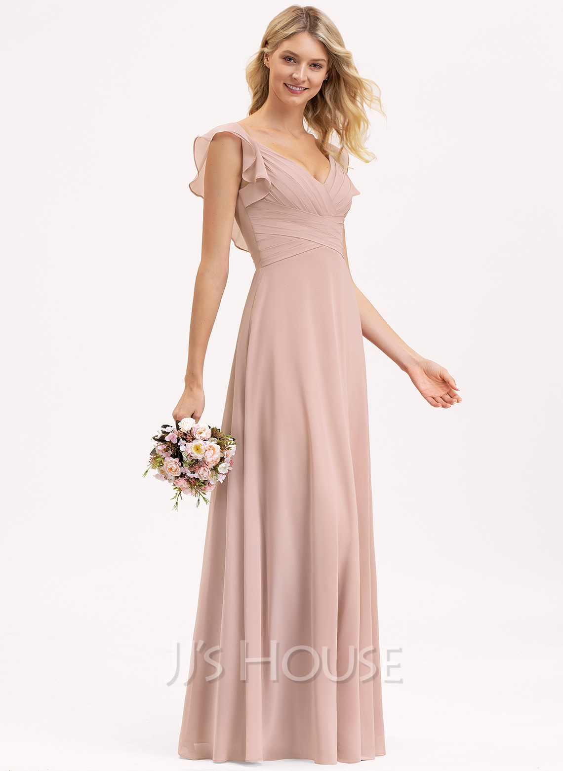 Empire V-neck Floor-Length Chiffon Bridesmaid Dress With Cascading Ruffles