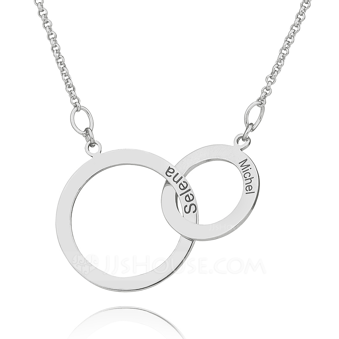 Custom Sterling Silver Cross Circle Two Engraved Necklace Circle Necklace - Christmas Gifts