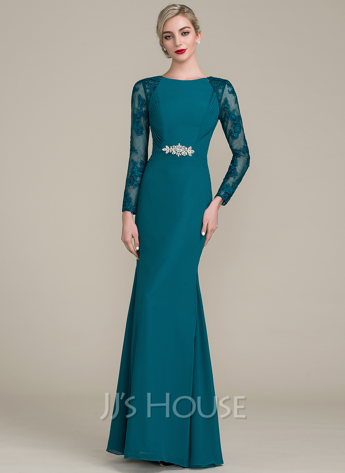 Trumpet/Mermaid Scoop Neck Floor-Length Chiffon Lace Mother of the Bride Dress With Ruffle Beading