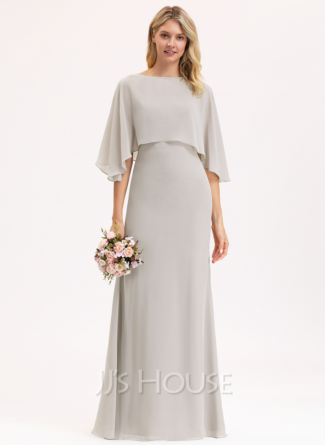 Sheath/Column Square Neckline Floor-Length Chiffon Bridesmaid Dress