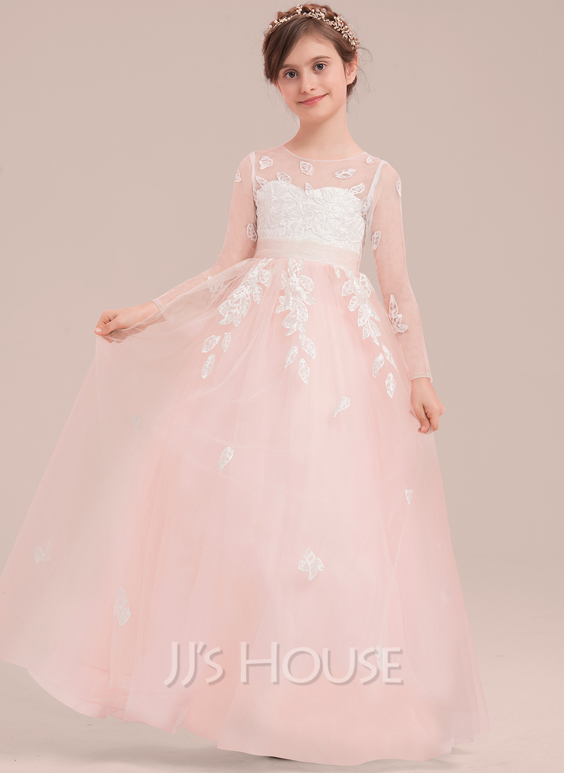 24b26576e Ball Gown Floor-length Flower Girl Dress - Tulle/Lace Long Sleeves Scoop  Neck. Loading zoom
