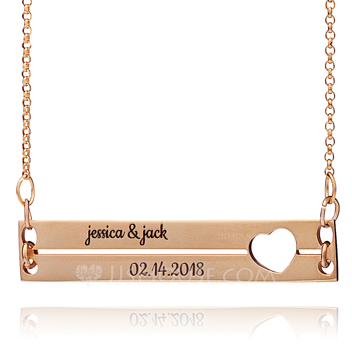 Custom 18k Rose Gold Plated Silver Engraving/Engraved Couple Two Bar Necklace - Birthday Gifts Mother's Day Gifts