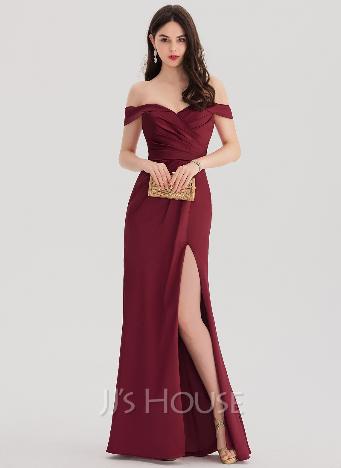 Sheath column off the shoulder floor length satin prom for Floor length gowns