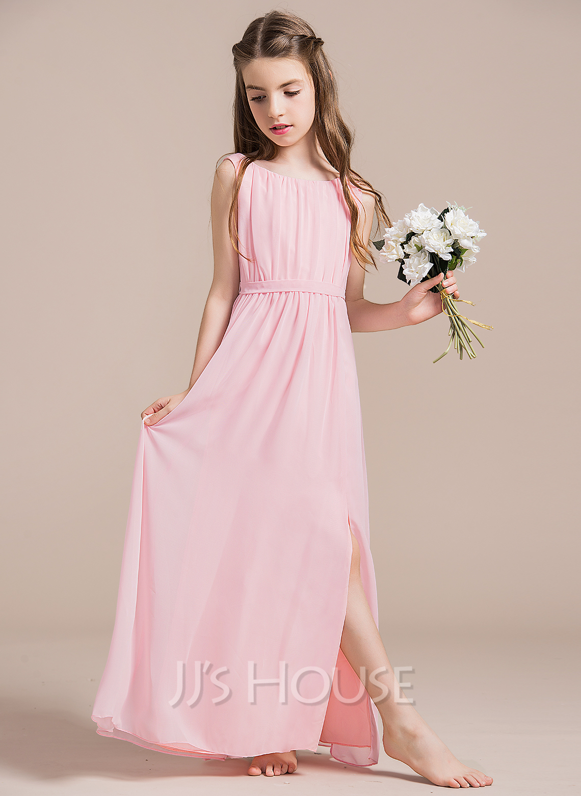 A-Line/Princess Scoop Neck Floor-Length Chiffon Junior Bridesmaid ...
