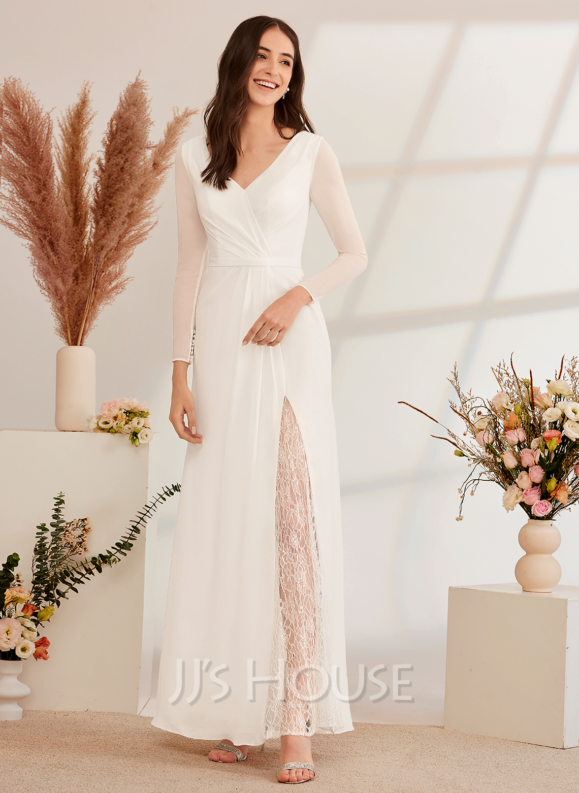 A-Line V-neck Floor-Length Wedding Dress With Lace Bow(s)