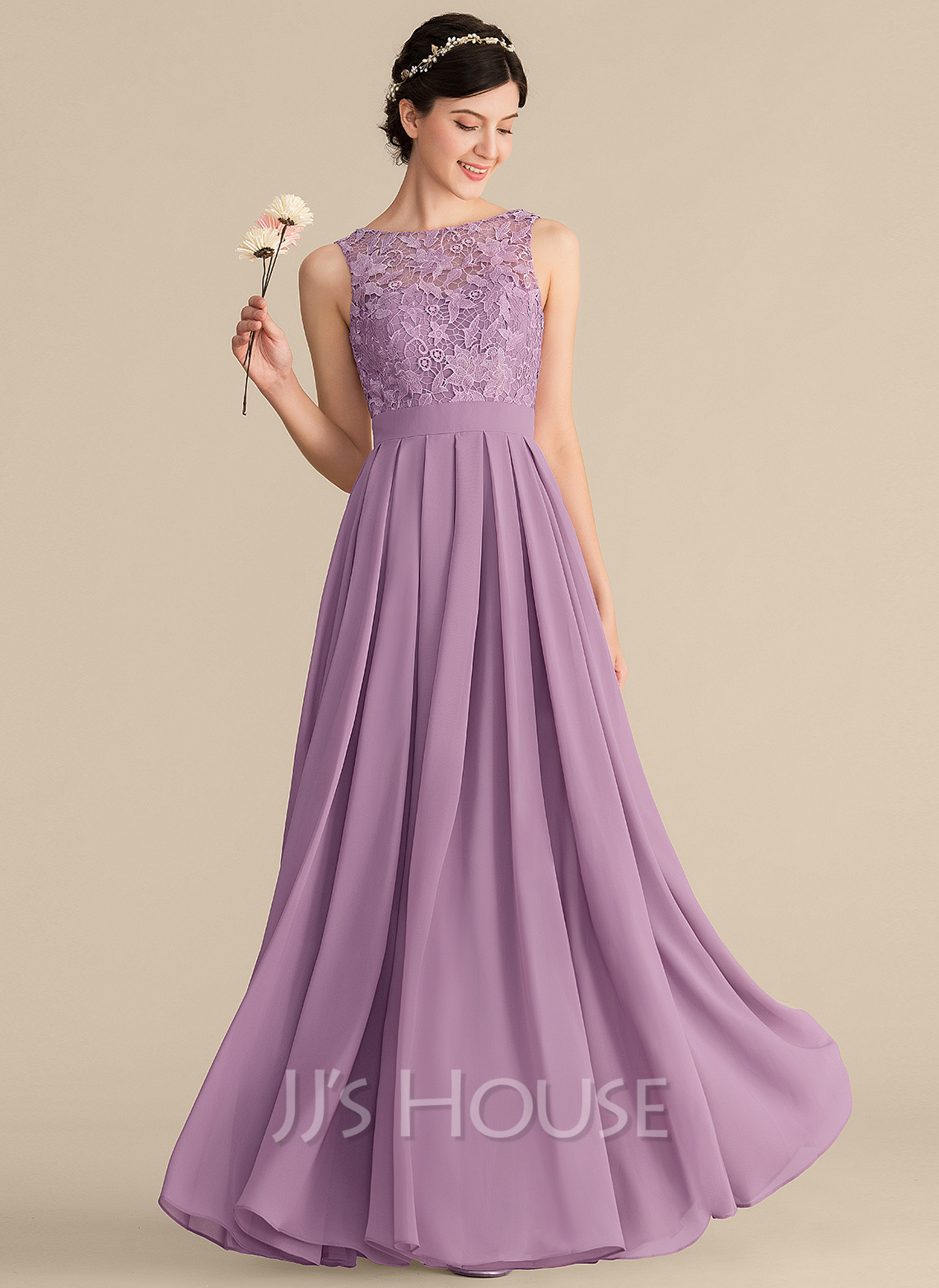 Scoop Neck Floor-Length Chiffon Lace Bridesmaid Dress With Ruffle