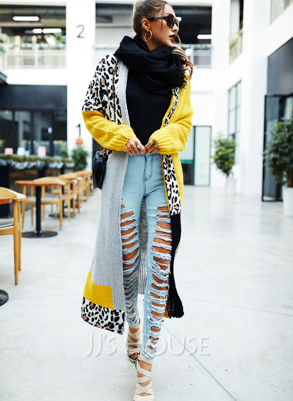 Long Sleeves Leopard Color Block Casual Long Cardigans