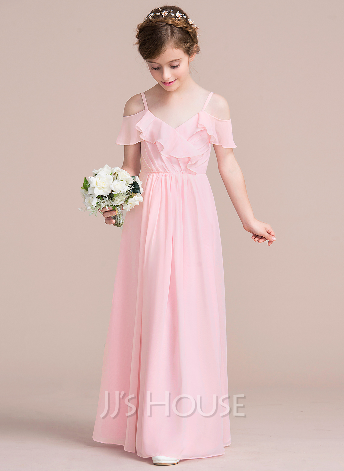 A line princess v neck floor length chiffon junior for Wedding dresses for girl
