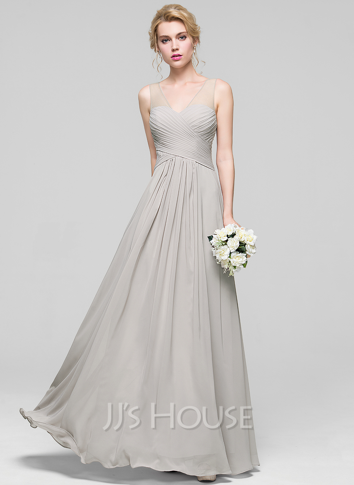 A line princess v neck floor length chiffon bridesmaid for Dresses for wedding bridesmaid