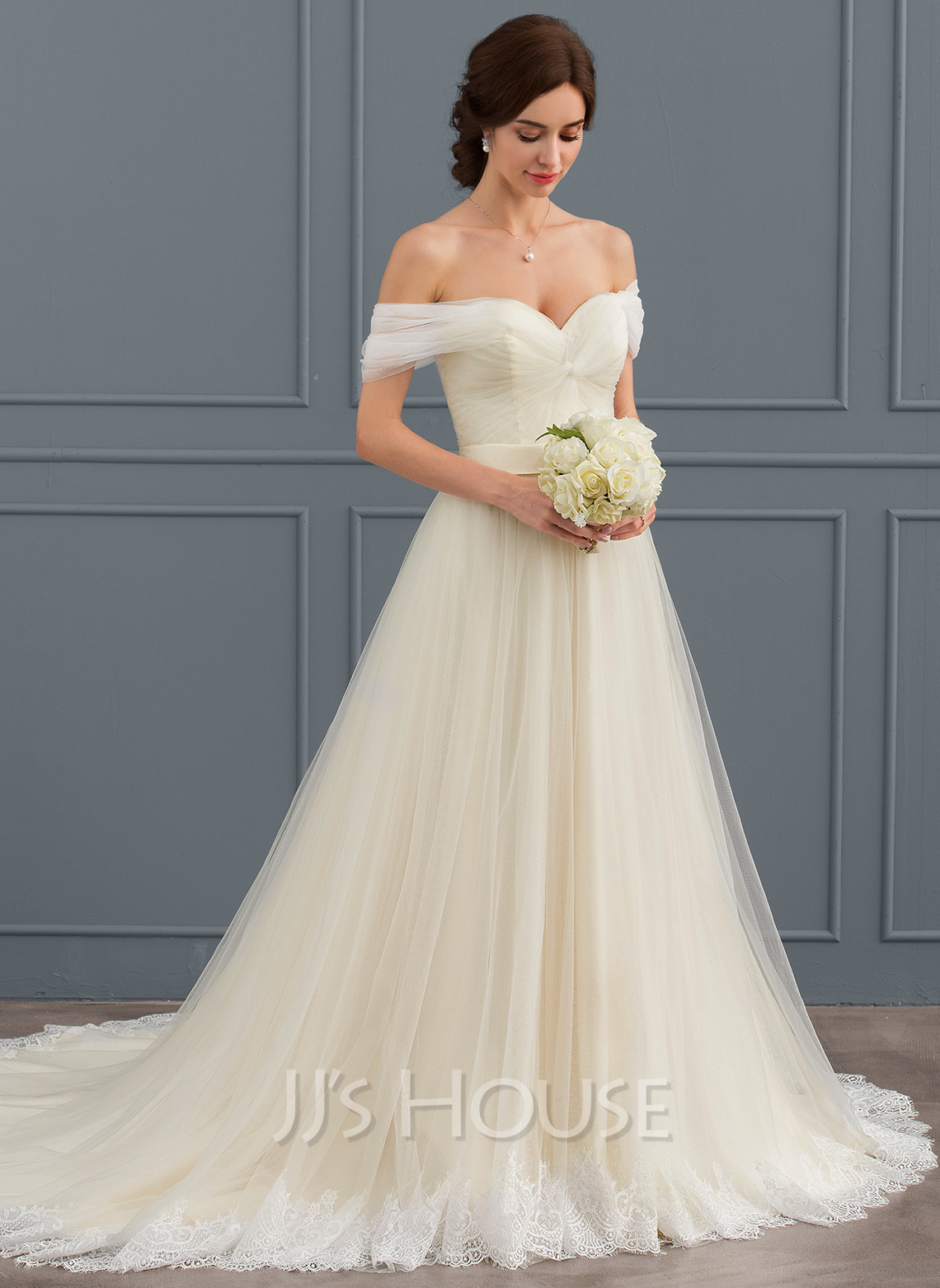 Ball gown off the shoulder court train tulle lace wedding for Lace off the shoulder wedding dresses
