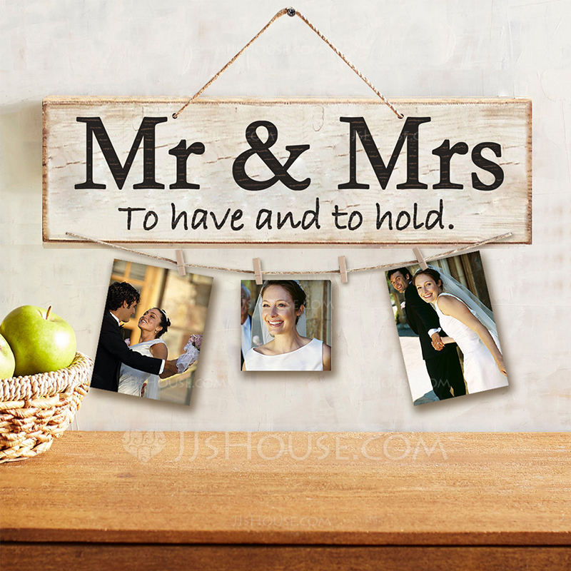 "Simple/Classic/""Mr. & Mrs."" Nice/Pretty Wooden Wedding Sign (Sold in a single piece)"