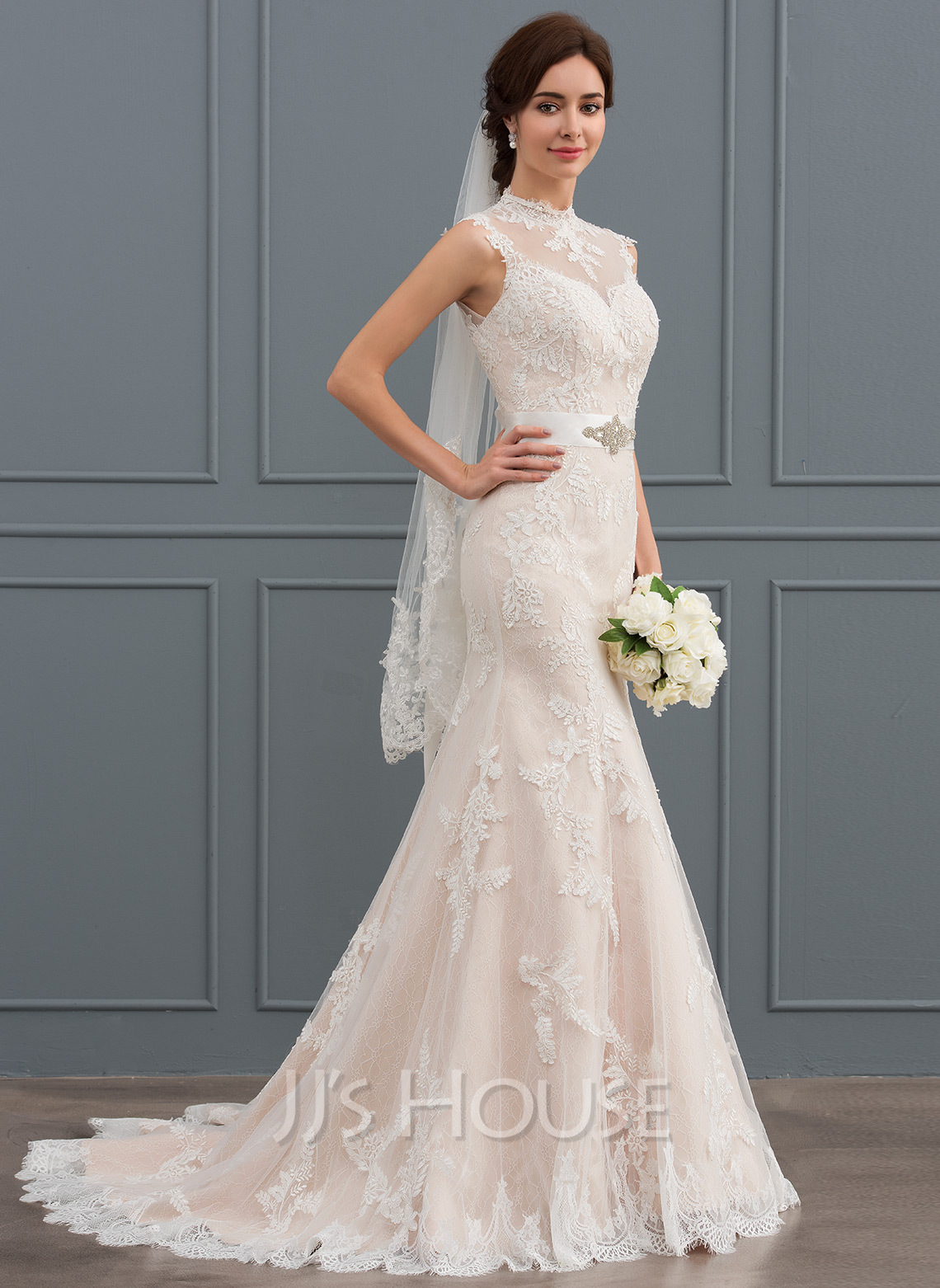 Trumpet/Mermaid High Neck Sweep Train Tulle Lace Wedding Dress With Beading