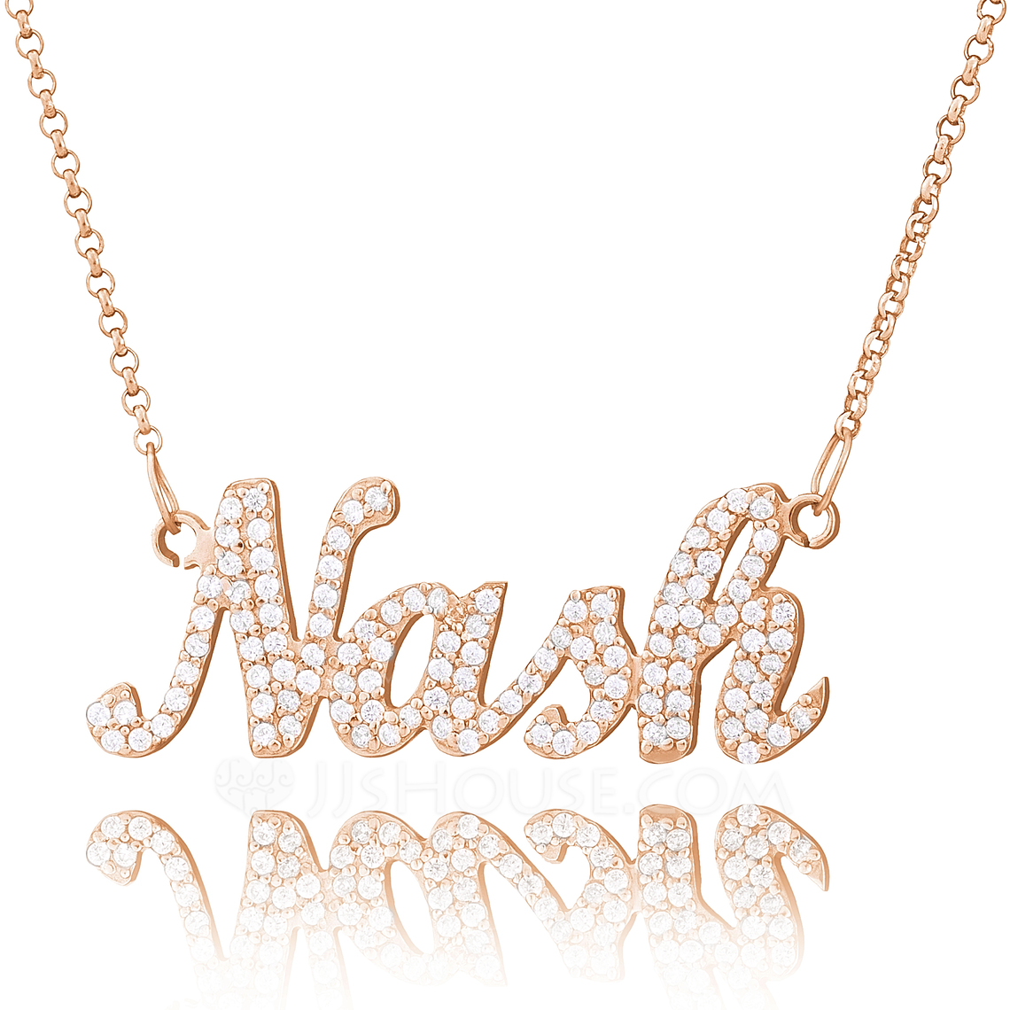 [Free Shipping]Custom 18k Rose Gold Plated Silver Plate With Diamond - Christmas Gifts
