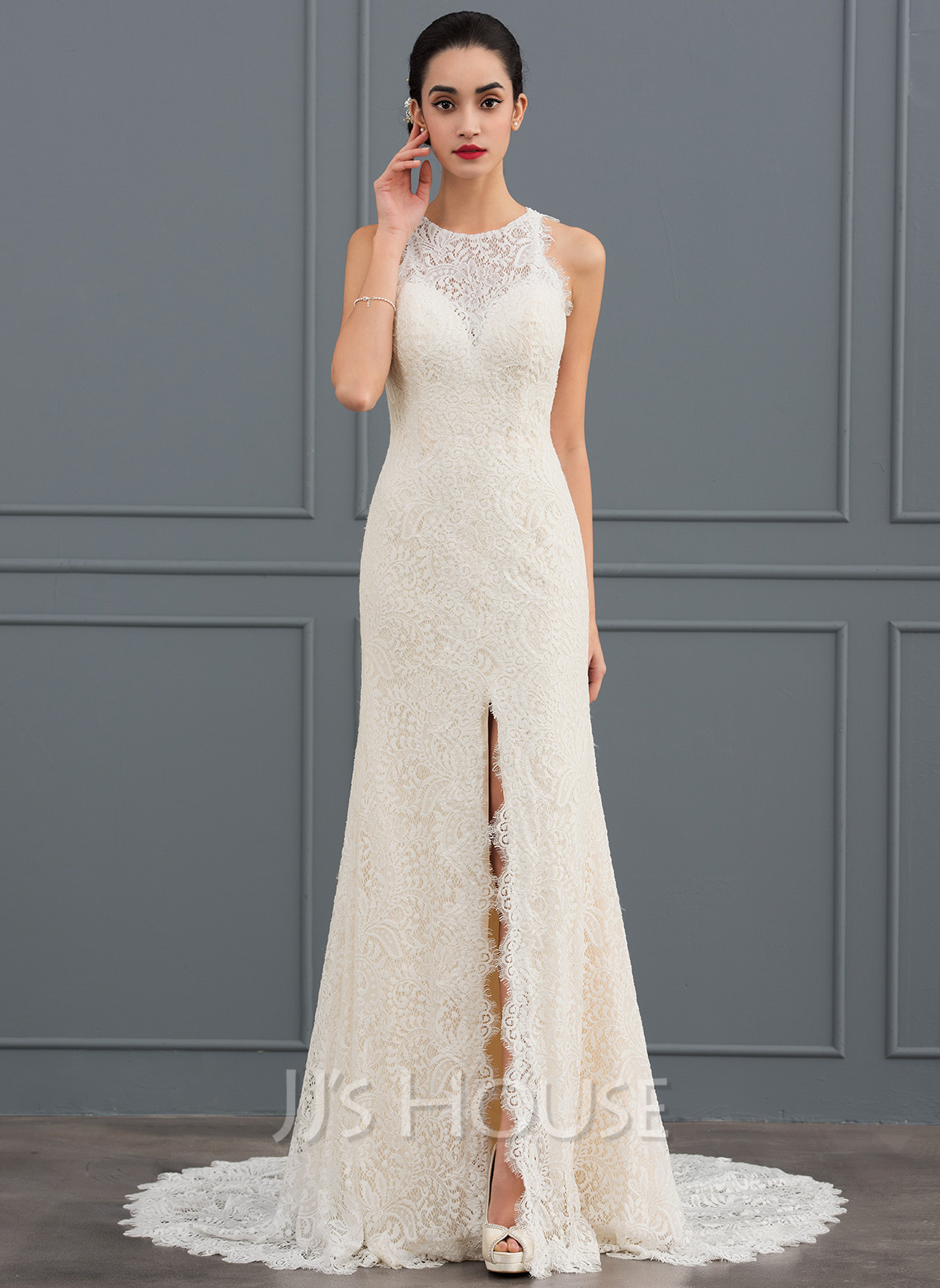 b117a7535f1 Sheath/Column Scoop Neck Court Train Lace Wedding Dress (002127263 ...