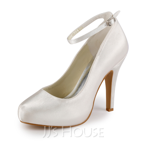 Women's Satin Cone Heel Closed Toe Pumps With Buckle