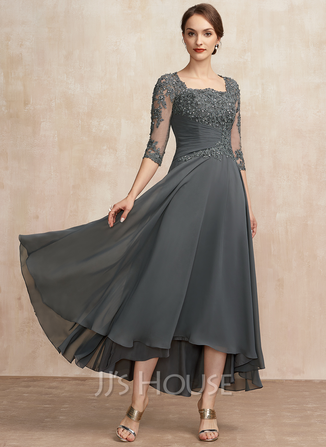 A-Line Square Neckline Asymmetrical Chiffon Lace Mother of the Bride Dress With Ruffle Sequins