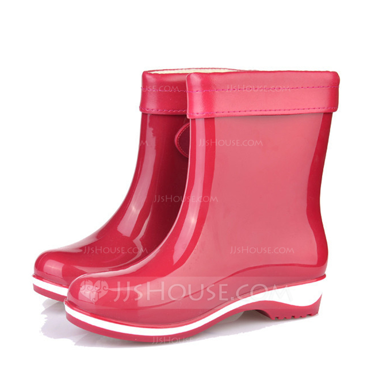 a8e361cdb4d  US  12.00  Women s PVC Low Heel Boots Mid-Calf Boots Rain Boots With  Buckle shoes - JJ s House