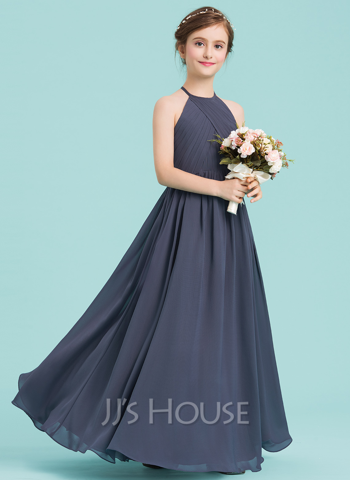 35b39a0f997 A-Line Princess Scoop Neck Floor-Length Chiffon Junior Bridesmaid Dress  With Ruffle. Loading zoom
