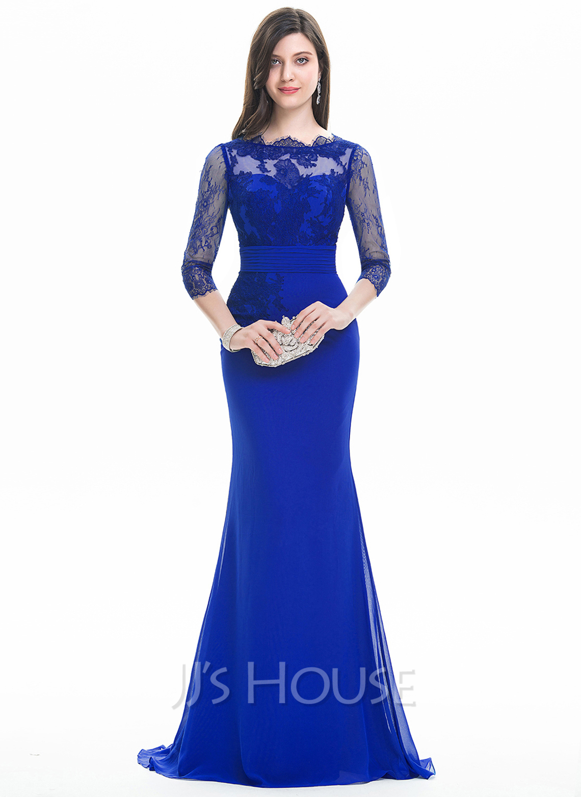 Trumpet/Mermaid Scoop Neck Sweep Train Chiffon Evening Dress With Ruffle