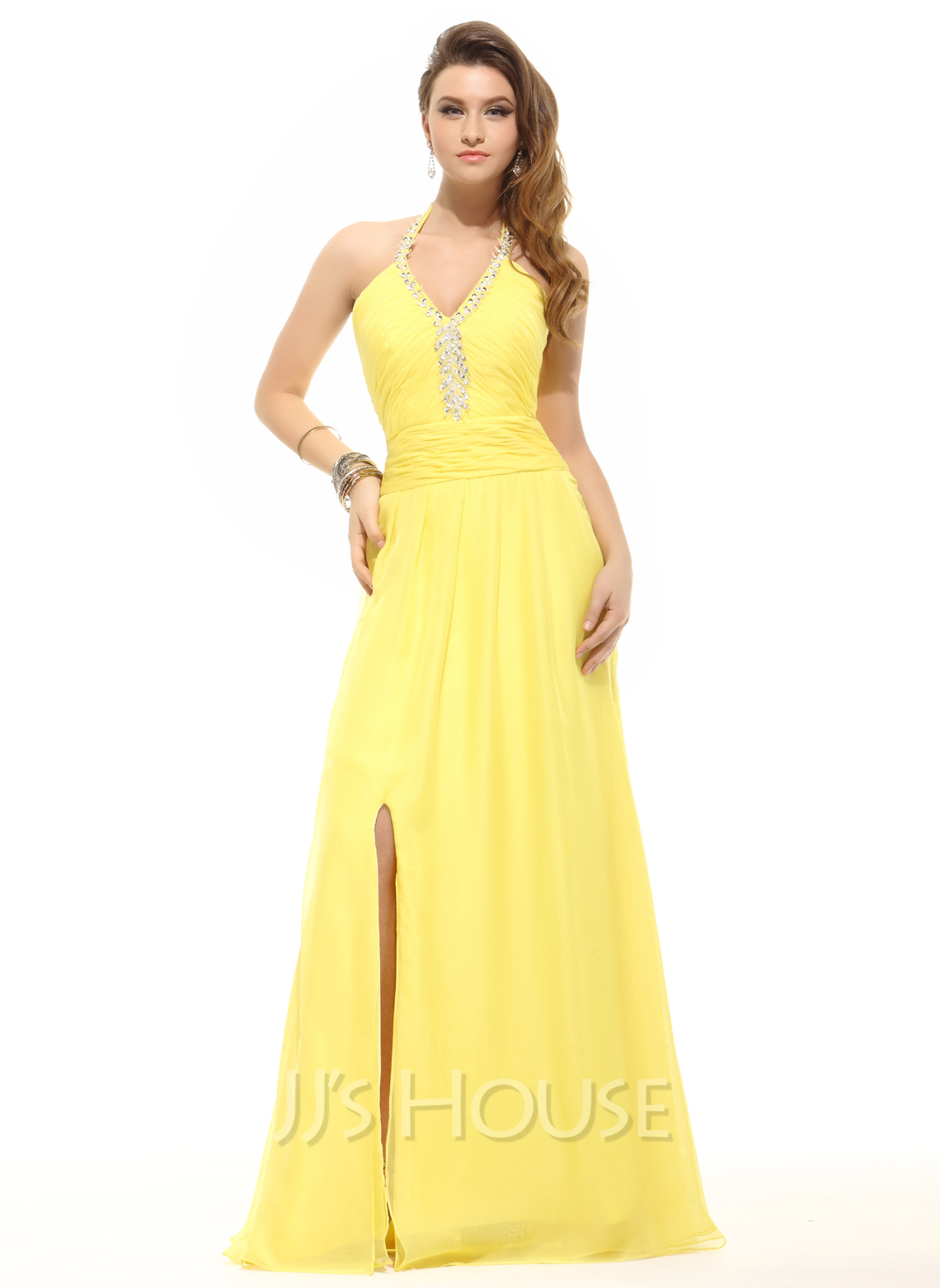 A-Line/Princess Halter Floor-Length Chiffon Holiday Dress With Ruffle Beading Split Front