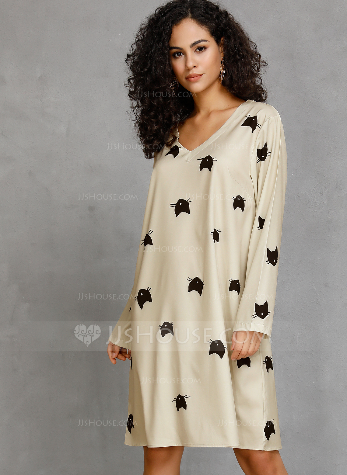 Cotton With Print Knee Length Dress