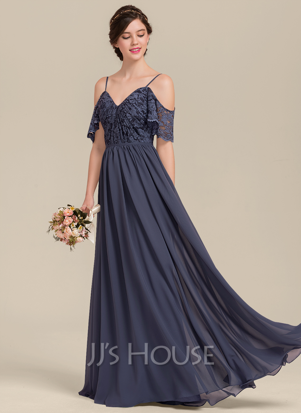 V-neck Floor-Length Chiffon Lace Bridesmaid Dress With Cascading Ruffles