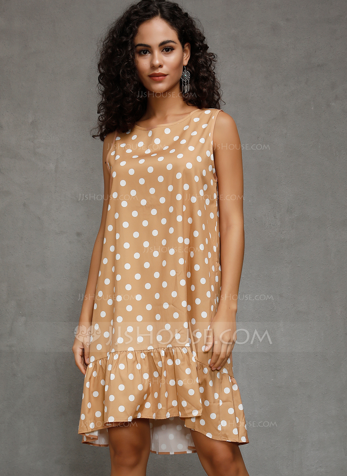 Polyester With Ruffles/PolkaDot Knee Length Dress