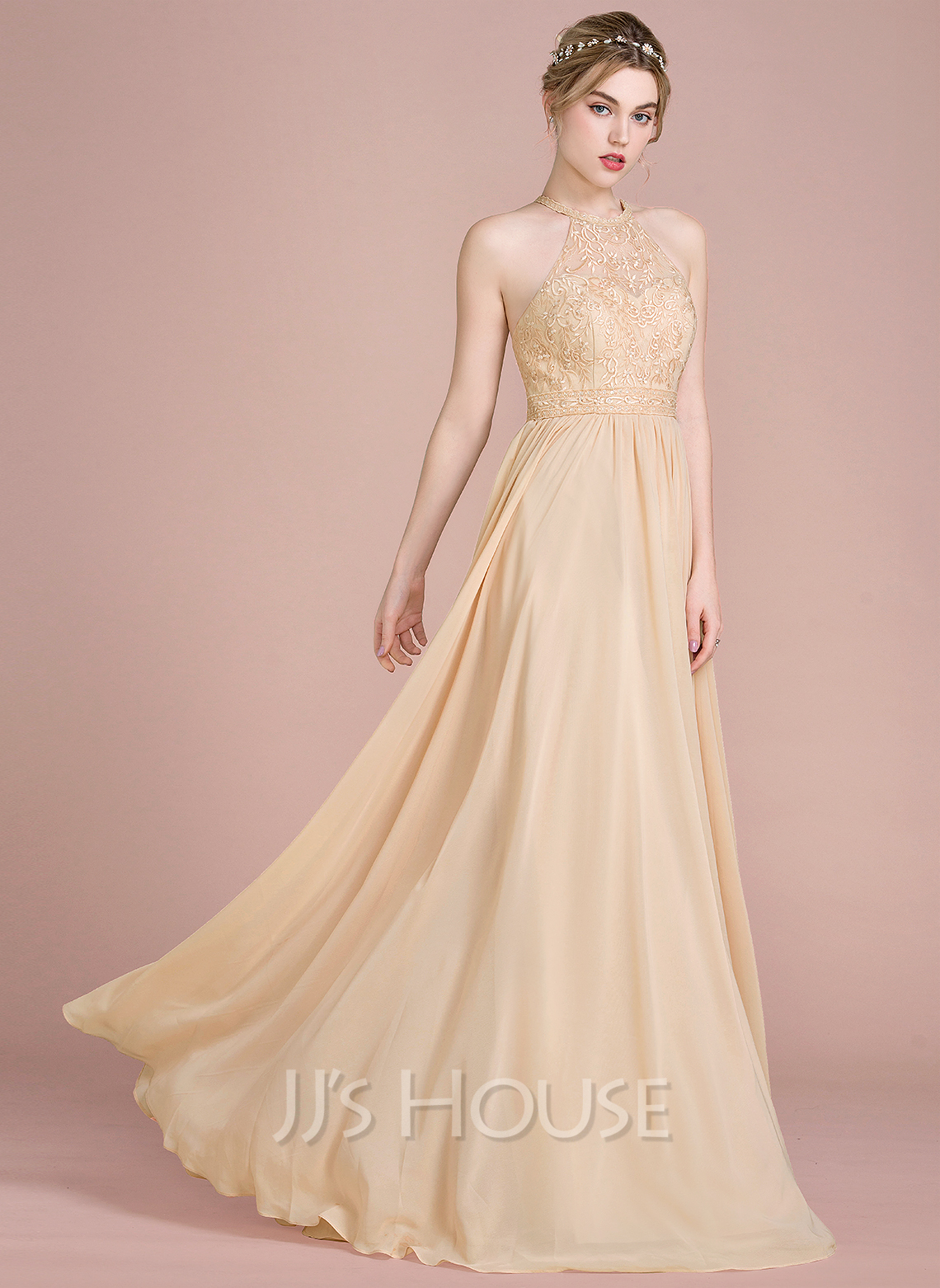 Scoop Neck Floor-Length Chiffon Lace Bridesmaid Dress With Beading Sequins