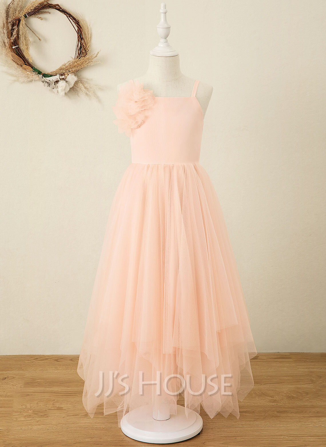 A-Line Ankle-length Flower Girl Dress - Chiffon/Organza Sleeveless Square Neckline With Flower(s)