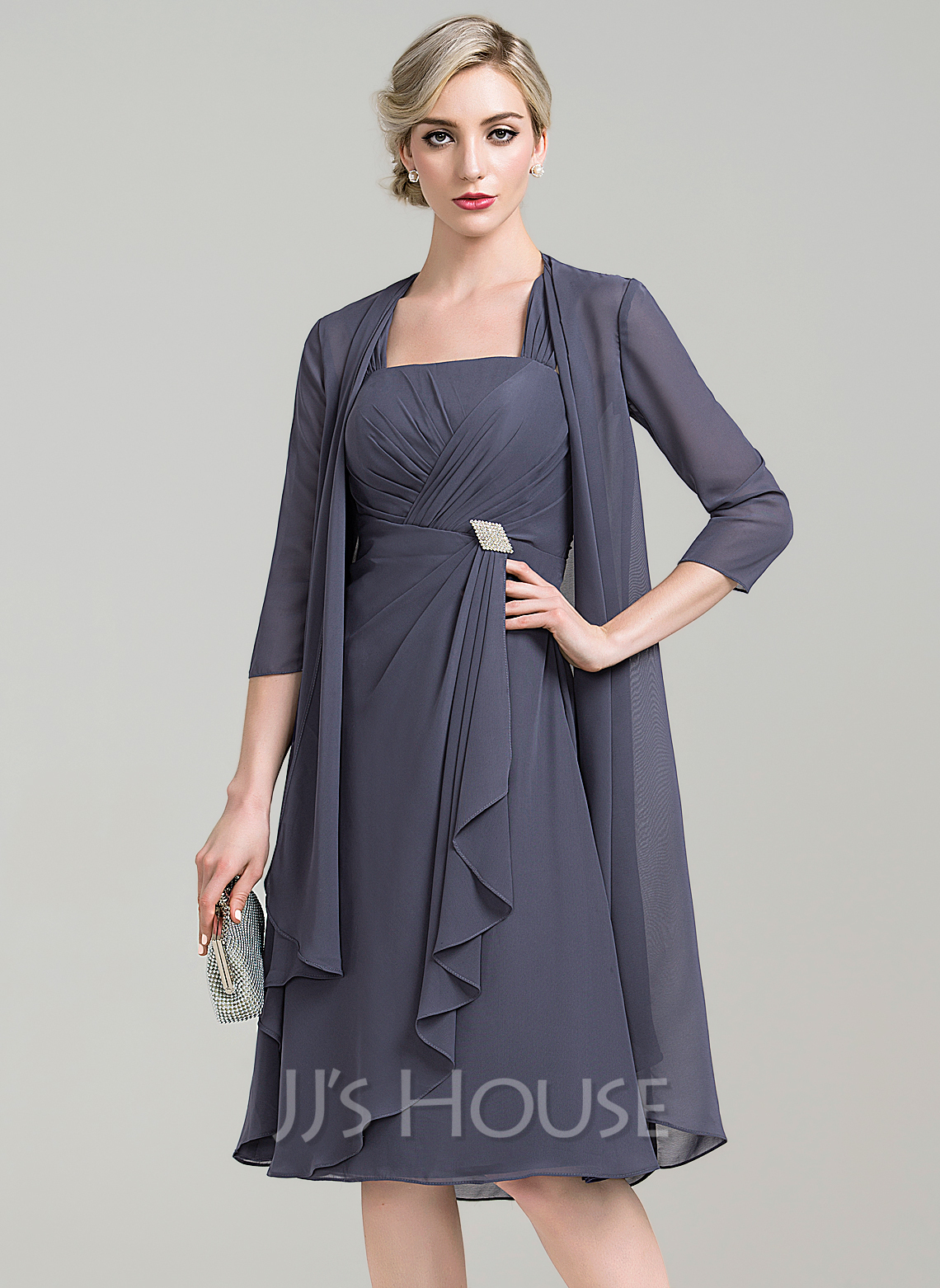 a line princess square neckline knee length chiffon mother