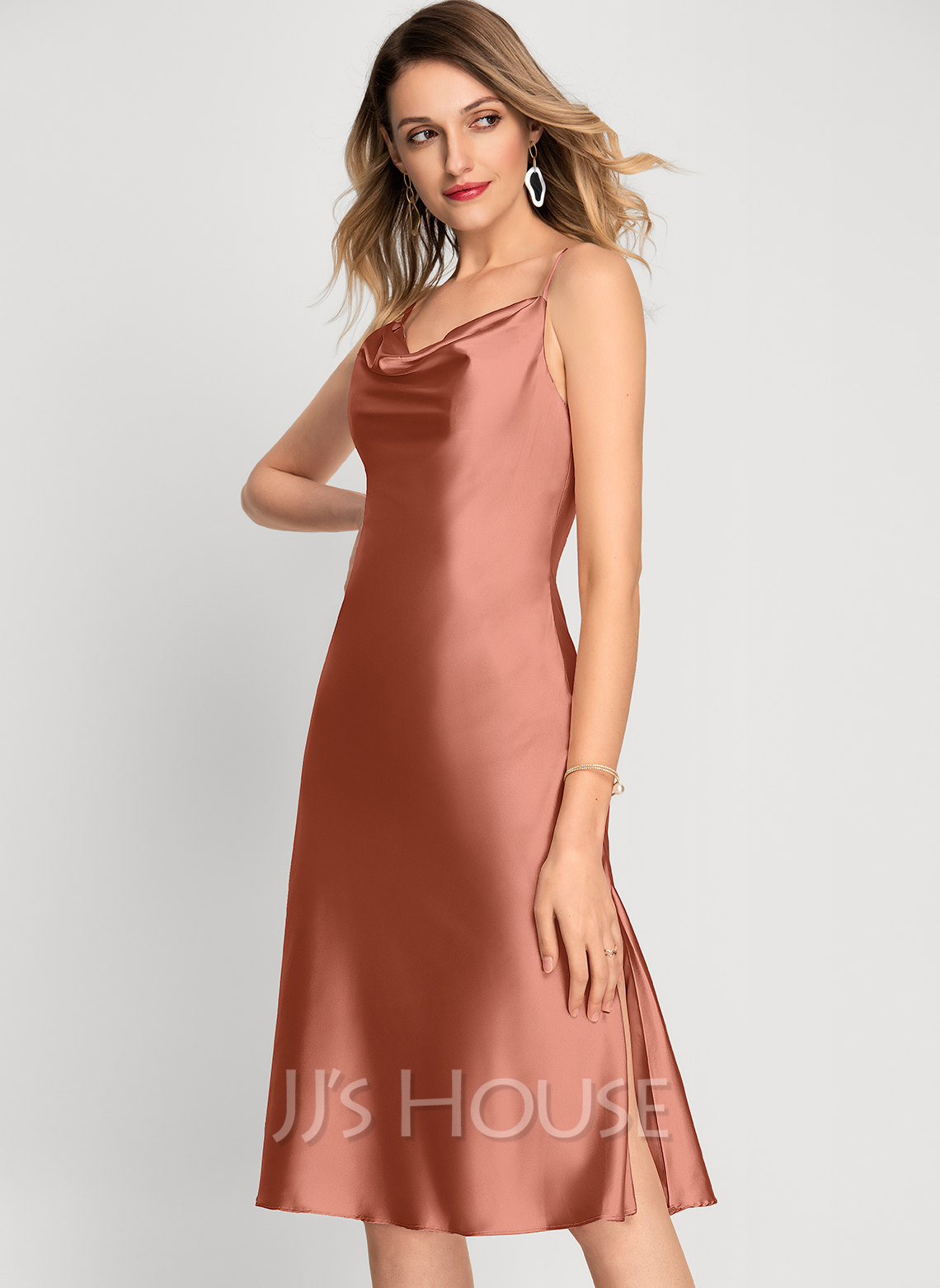 Cowl Neck Knee-Length Bridesmaid Dress With Split Front