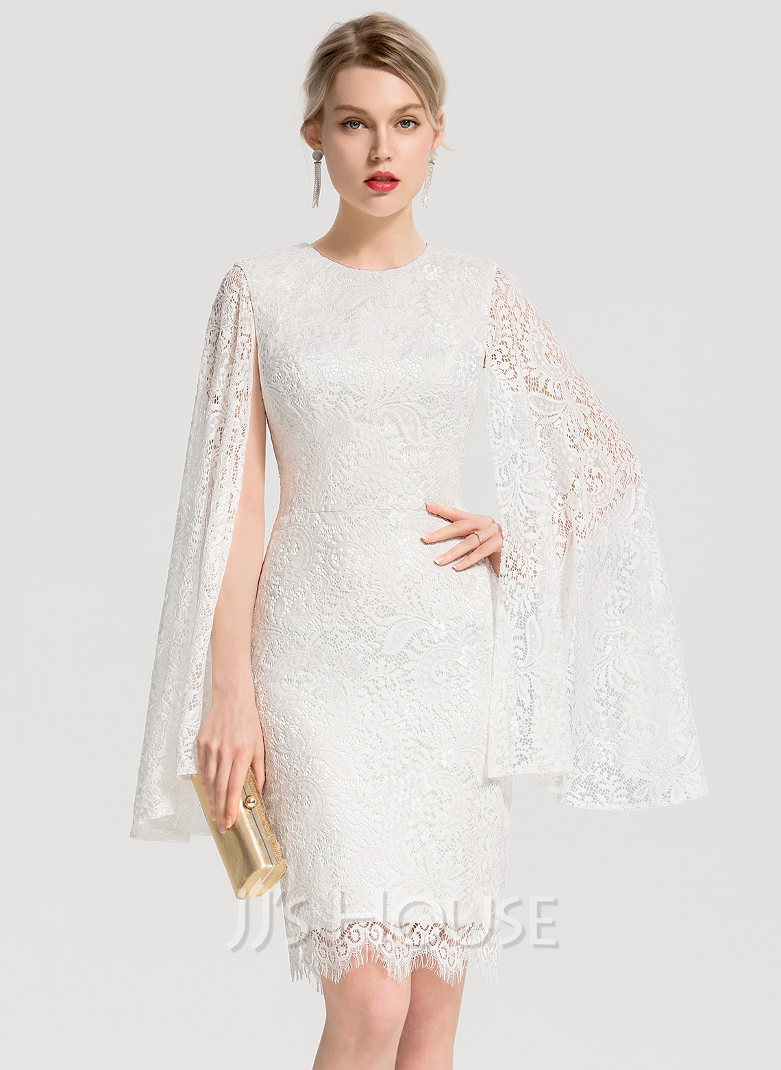 Sheath/Column Scoop Neck Knee-Length Lace Wedding Dress