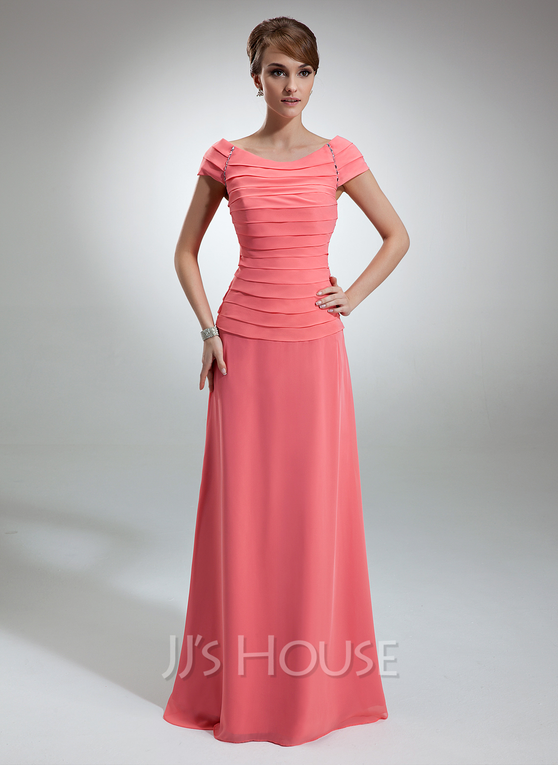 A-Line Off-the-Shoulder Floor-Length Chiffon Mother of the Bride Dress With Ruffle Beading