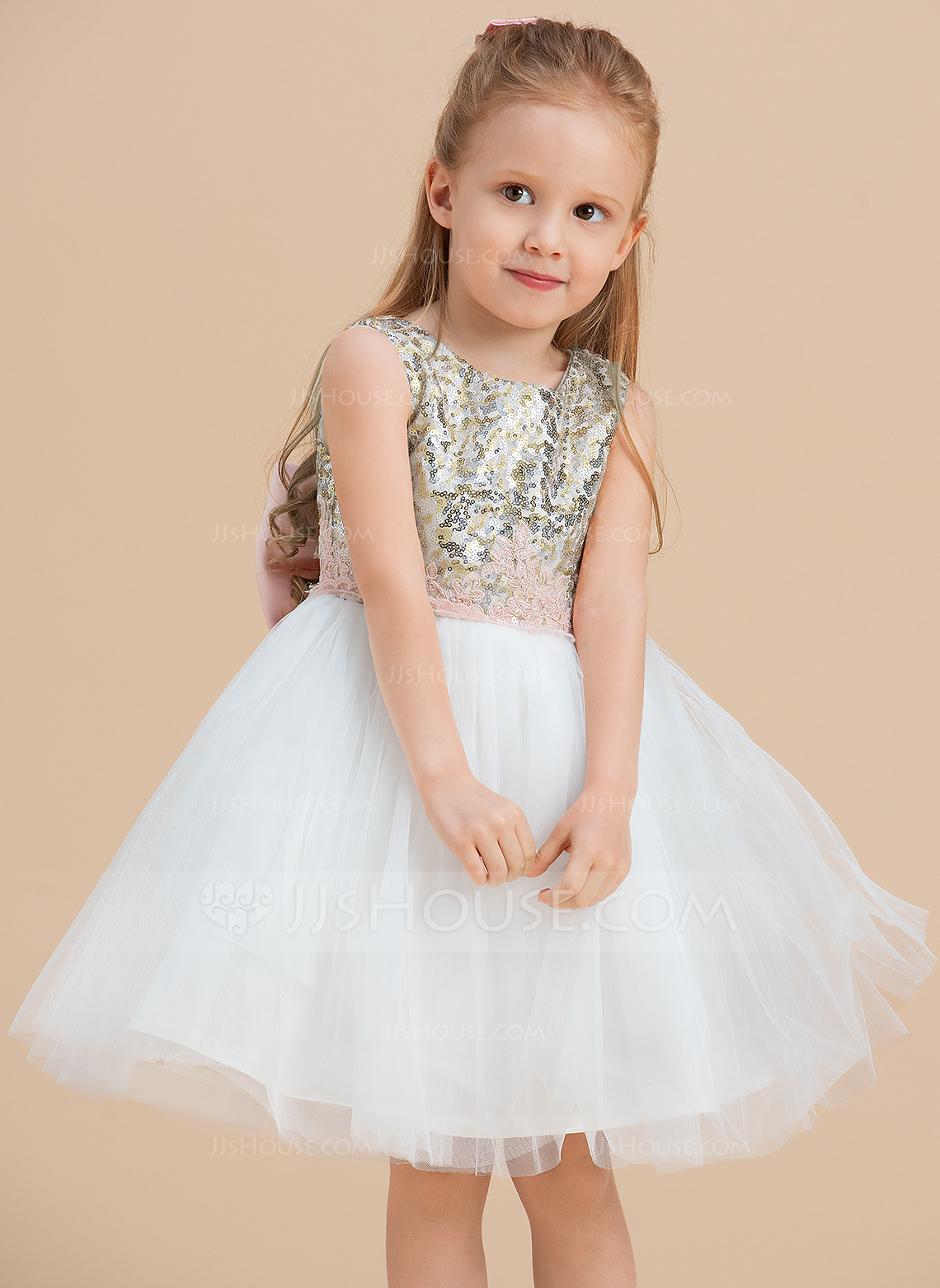 A-Line/Princess Knee-length Flower Girl Dress - Tulle/Sequined Sleeveless Scoop Neck With Sequins/Bow(s)