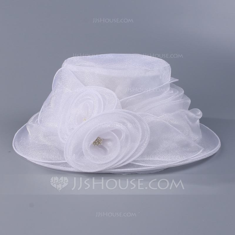 Ladies' Gorgeous Organza With Flower Floppy Hats/Kentucky Derby Hats/Tea Party Hats