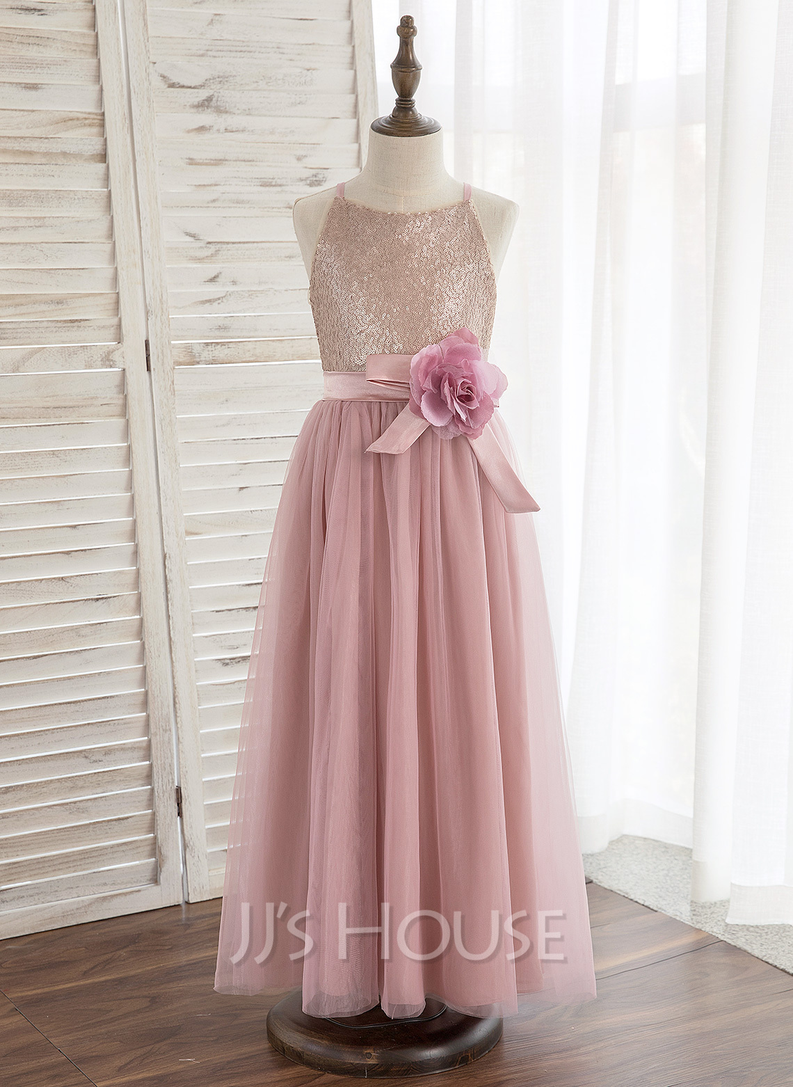 Ankle-length Flower Girl Dress - Tulle Sequined Sleeveless Halter With Flower(s)