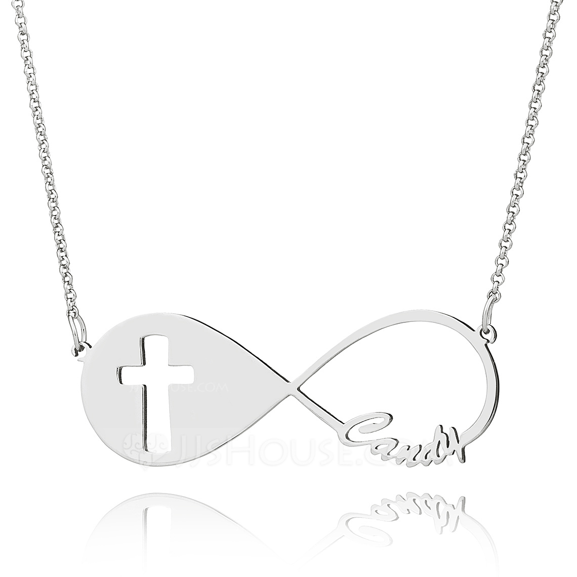 Custom Sterling Silver Religious Cross Infinity Name Necklace - Birthday Gifts Mother's Day Gifts