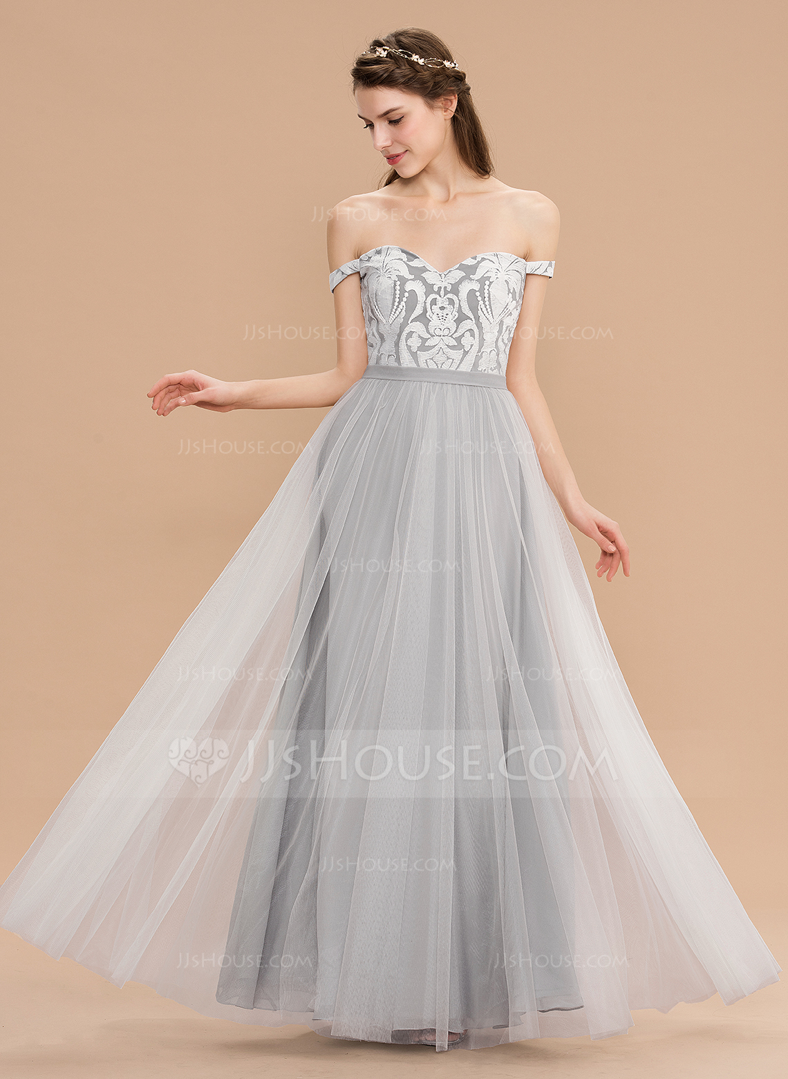 0e8732571eb A-Line Off-the-Shoulder Floor-Length Tulle Lace Bridesmaid Dress. Loading  zoom