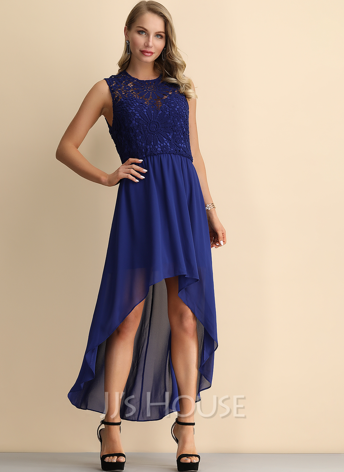 Lace/Chiffon Asymmetrical Dress