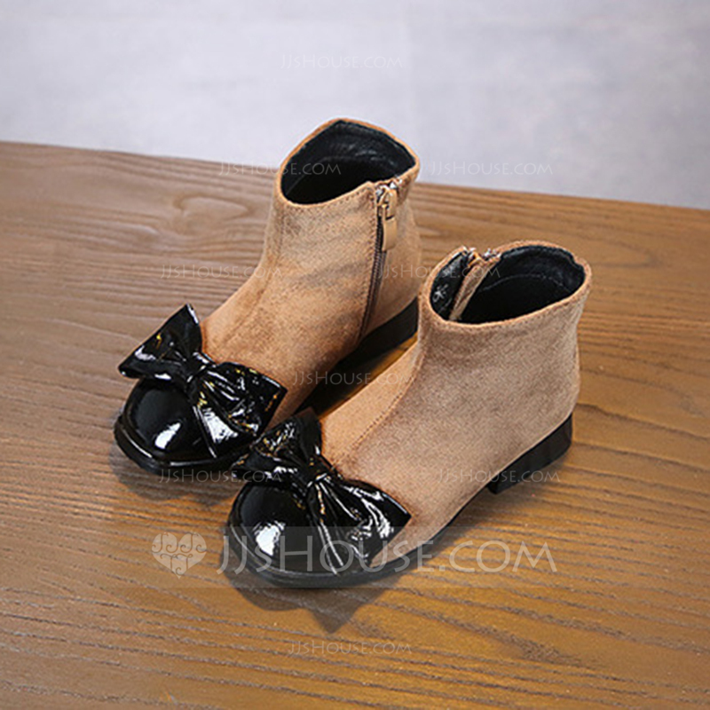 032f6ff54dd0 Girl s Round Toe Closed Toe Ankle Boots Suede Flat Heel Flats Boots Flower  Girl Shoes With. Loading zoom