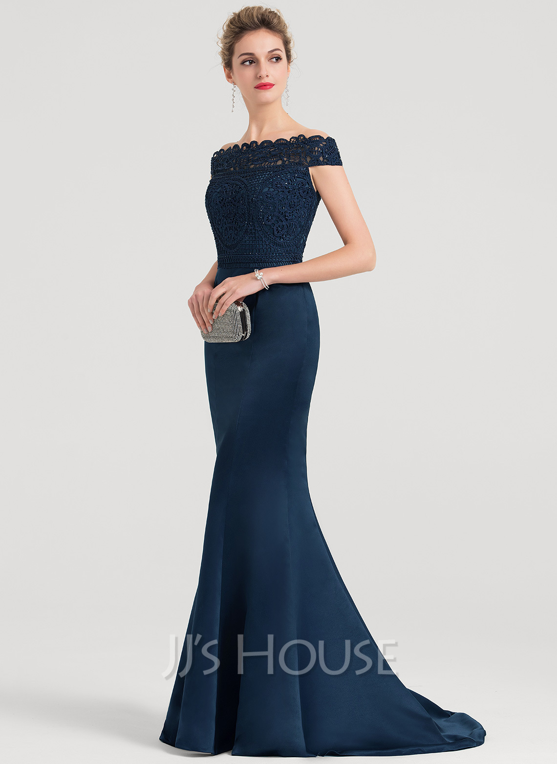 Trumpet/Mermaid Off-the-Shoulder Sweep Train Satin Evening Dress With Beading