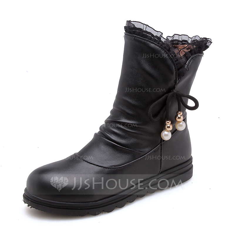 00a5e028a48 [US$ 41.00] Women's Leatherette Flat Heel Closed Toe Boots Mid-Calf Boots  With Imitation Pearl Lace-up shoes - JJ's House