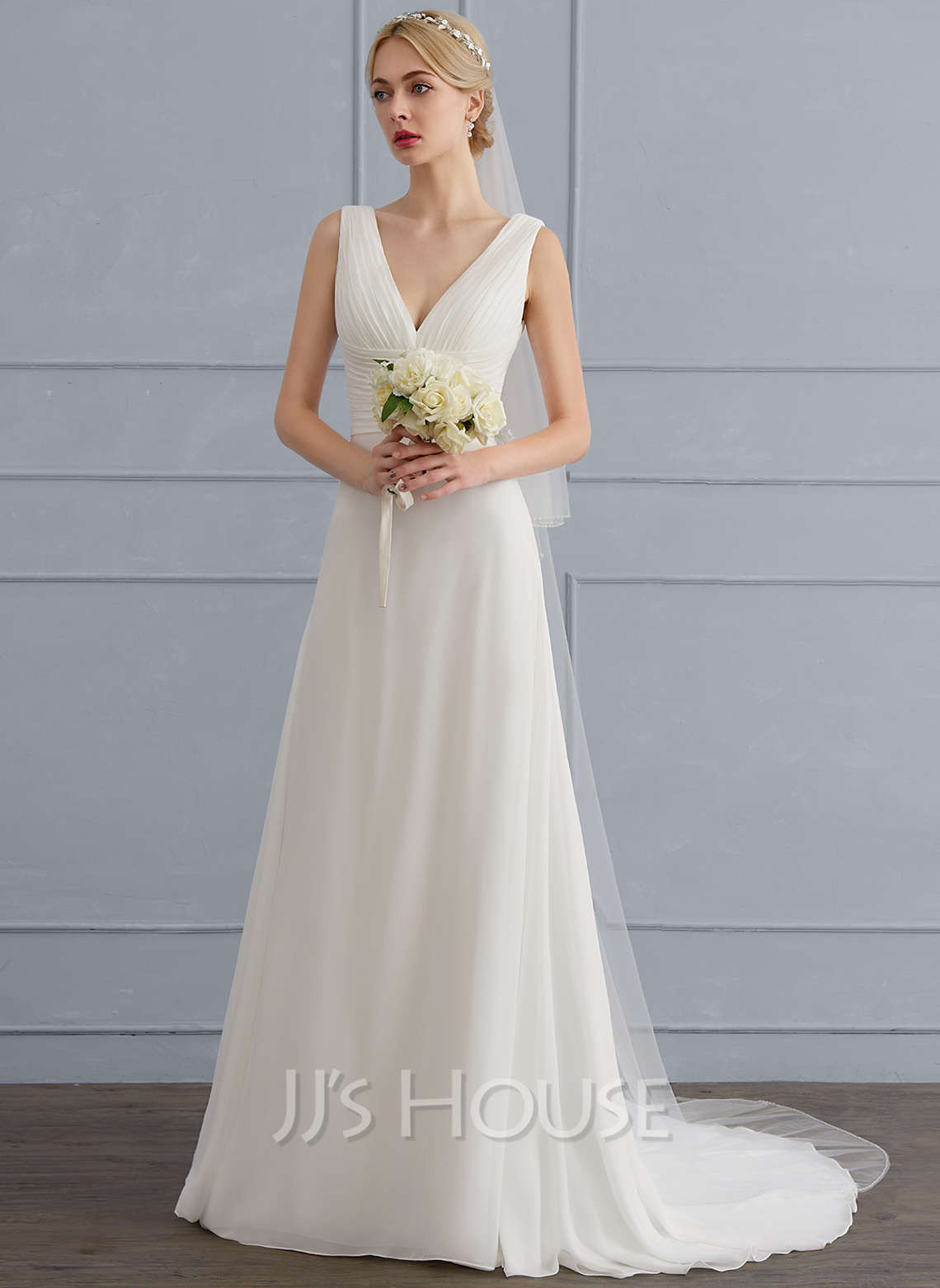 V-neck Sweep Train Chiffon Wedding Dress With Ruffle