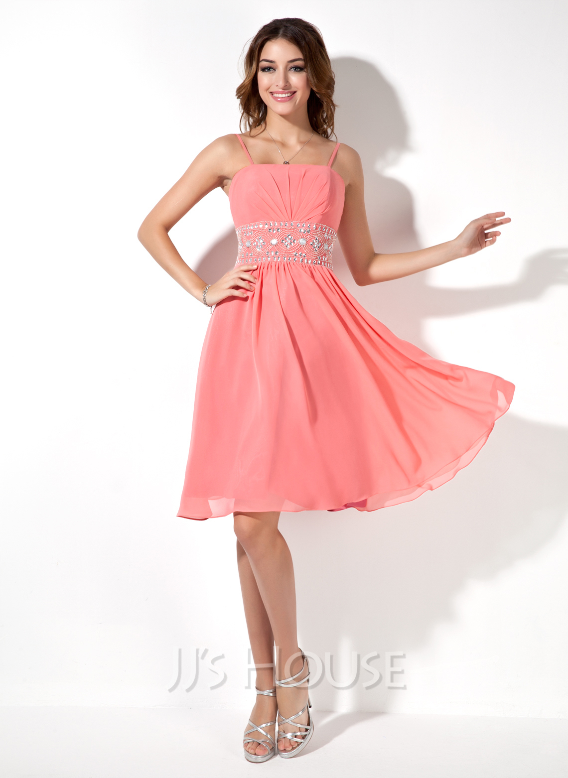 A Line Princess Knee Length Chiffon Homecoming Dress With