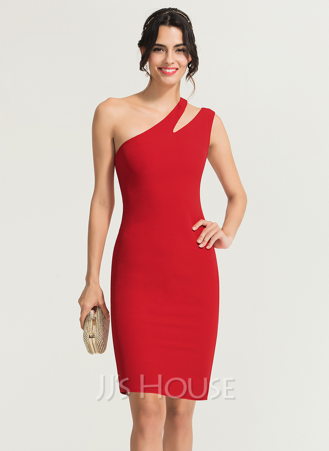 7a9f68b55a1 Sheath Column One-Shoulder Knee-Length Stretch Crepe Cocktail Dress.  Loading zoom