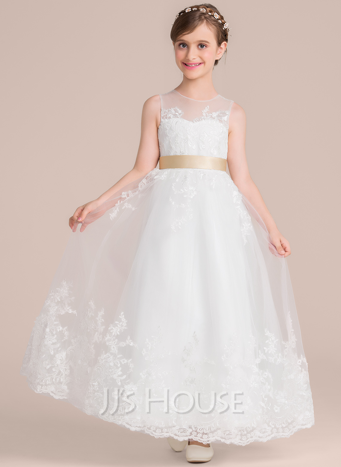 A-Line Scoop Neck Floor-Length Tulle Lace Junior Bridesmaid Dress With Sash Bow(s)